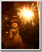 Snowman with sparklers